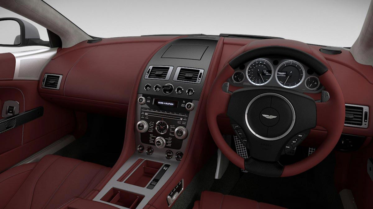 Aston Martin DB9 Volante car hire interior