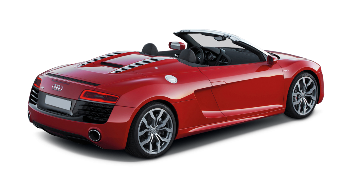 Audi R8 V8 Spyder car hire rear view