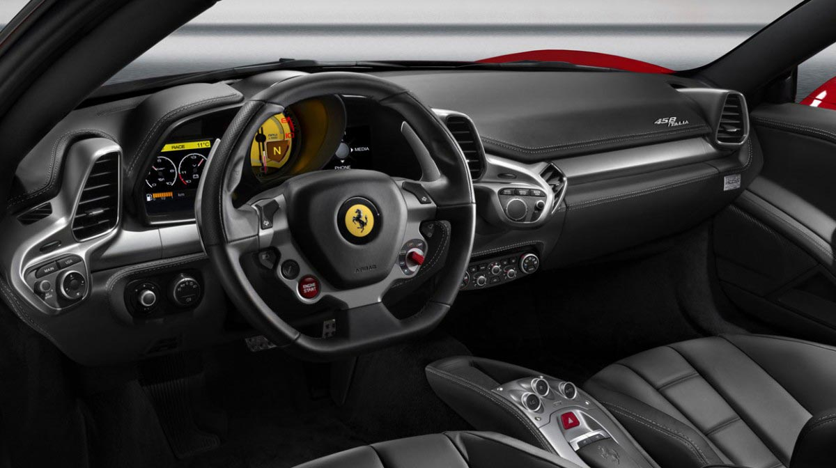 Ferrari 458 Italia car hire interior