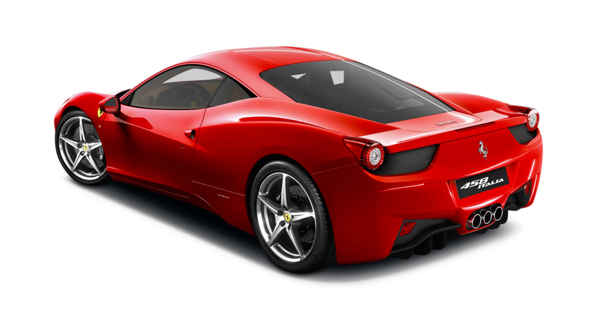 Ferrari 458 Italia car hire rear view