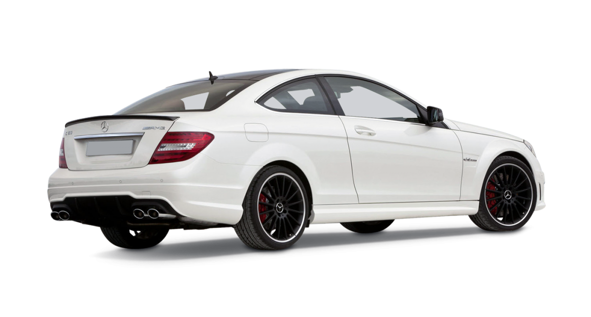 Mercedes C63 AMG Coupe car hire rear view