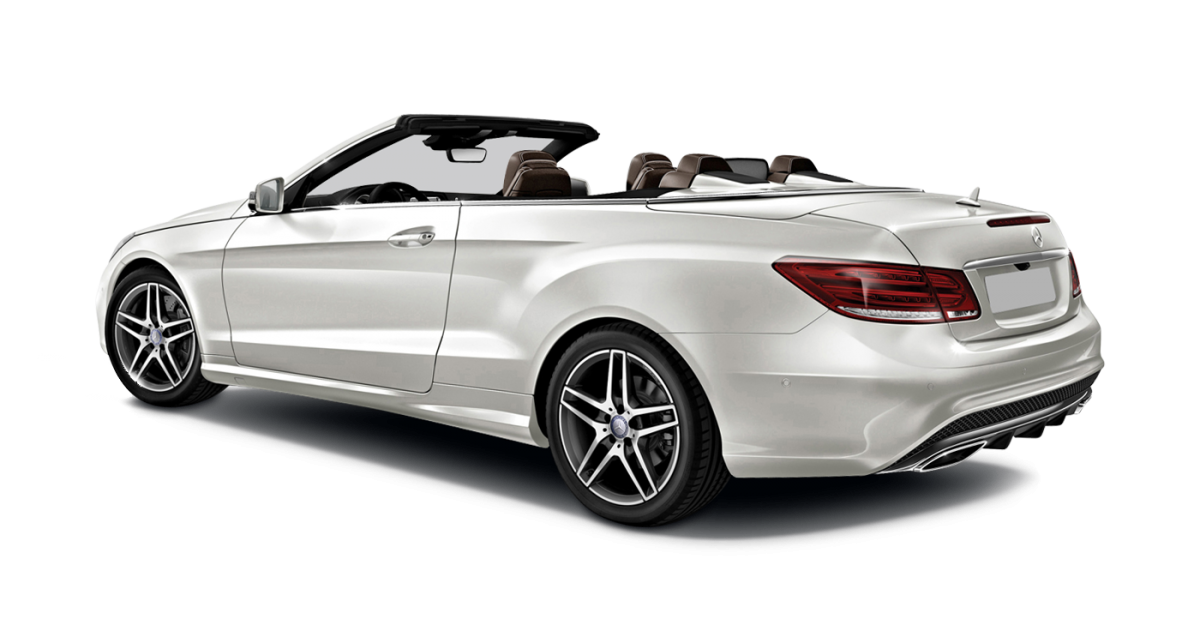 Mercedes E-Class Cabriolet car hire rear view