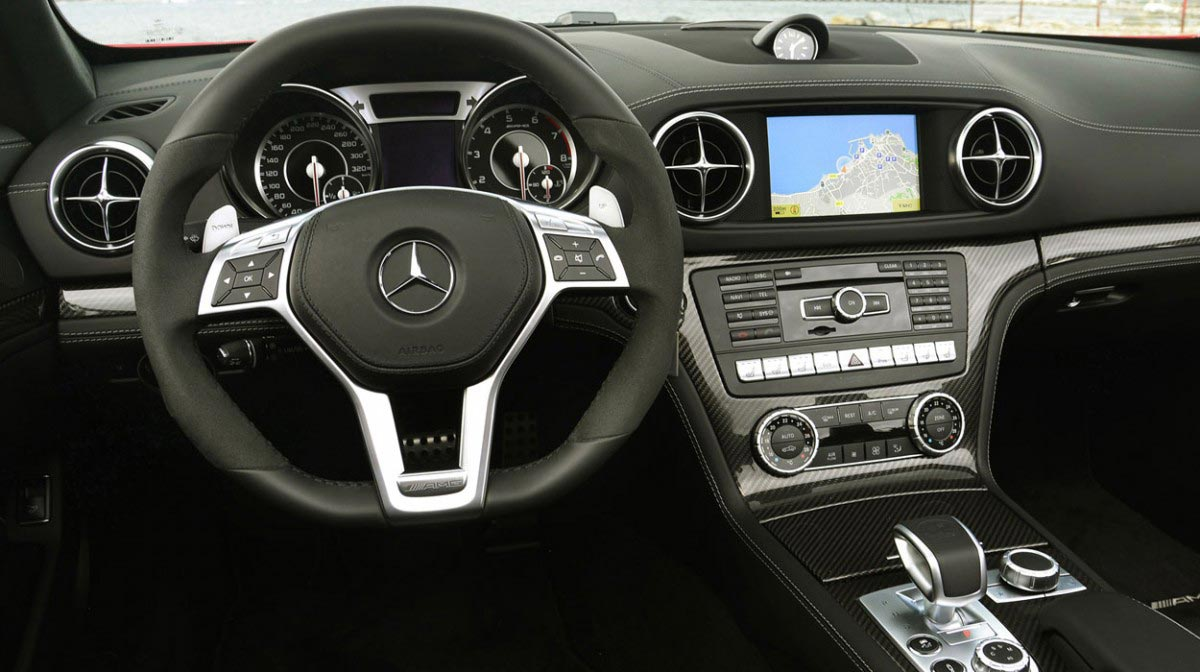 Mercedes SL car hire interior